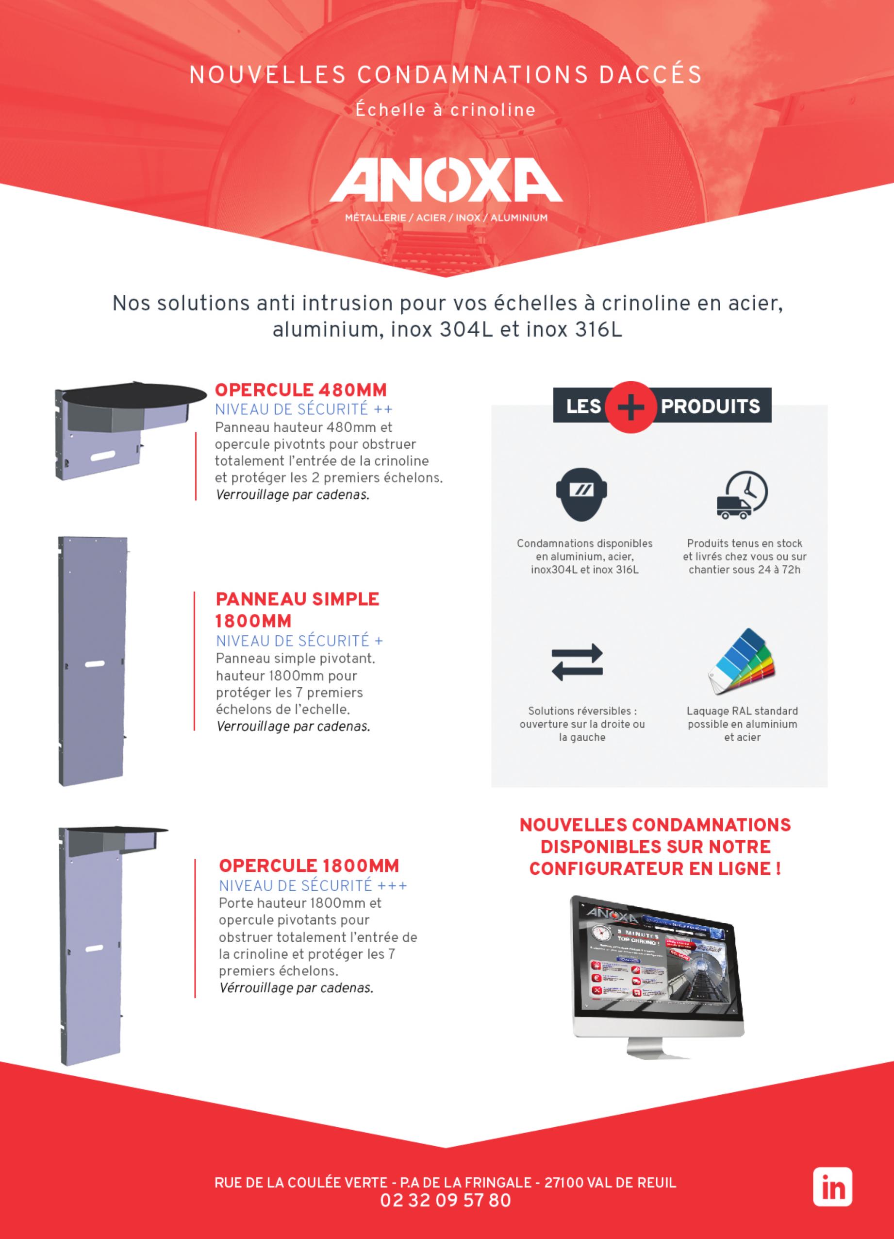 Opercules et panneaux ANOXA